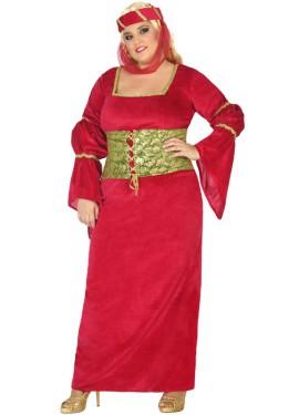 Disfraz de Dama Medieval roja para mujer