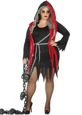 Disfraz de Fantasma Negro con Cadenas para mujer
