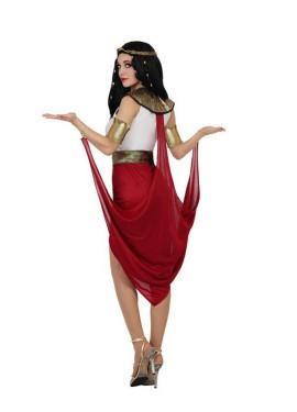 Disfraz de Faraona Egipcia con capa roja de mujer