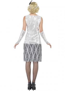 Disfraz de Flapper años 20 Plata para mujer