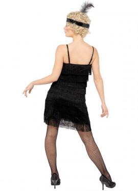 Disfraz de Flapper Negro con Flecos para Mujer