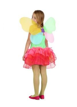 Disfraz de Hada Primavera verde y fucsia de niñas