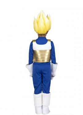 Disfraz de Saiyan Vegeta de Dragon Ball con peluca para niño