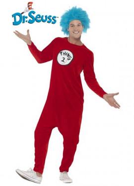 Disfraz de Thing 1 o Thing 2 Rojo para adultos