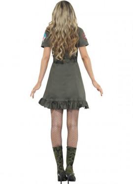 Disfraz de Top Gun Verde para mujer