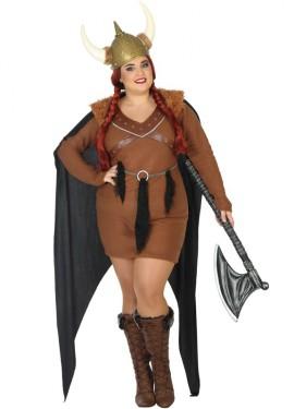 Disfraz de Vikinga con capa para mujer
