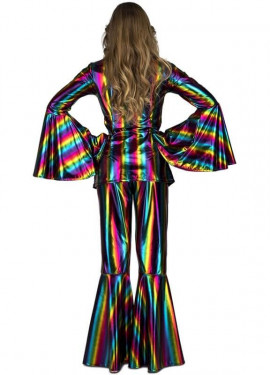 Disfraz Disco Arcoíris acampanado para mujer
