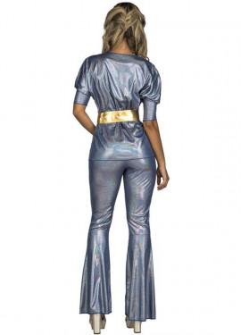 Disfraz Disco plateado y dorado para mujer