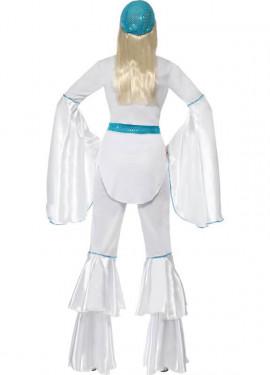 Déguisement Disco Années 70 Blanc - Bleu pour Femme plusieurs tailles