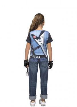 T-shirt déguisement de Rockeuse Squelette pour fille