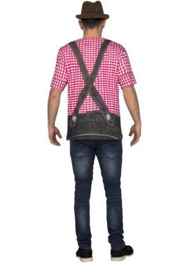 T-shirt déguisement Tyrolien Rouge pour homme