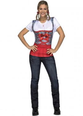Disfraz o Camiseta de Tirolesa roja para mujer