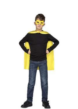 Disfraz o Capa de Súper Héroe Amarilla para niños