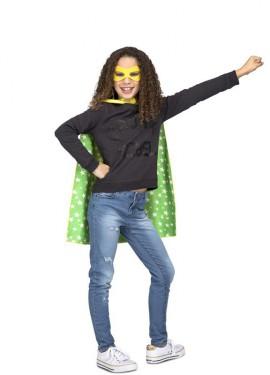 Disfraz o Capa de Súper Héroe Amarilla y verde para niños
