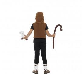 Disfraz o Kit de Pastor: Chaleco, Barba, Turbante, Cordero y Tobilleras para niño