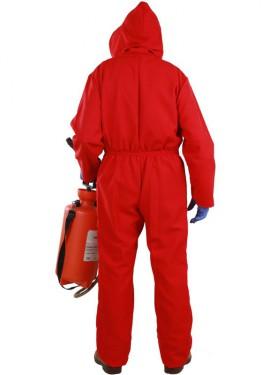Disfraz o Mono rojo de Fumigador para adultos