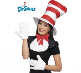 Kit Cat in the Hat adulto: Sombrero, babero con lazo y guantes