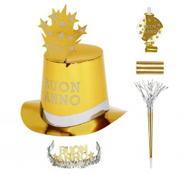 Kit Cotillón Buon Anno Dorado para 10 personas