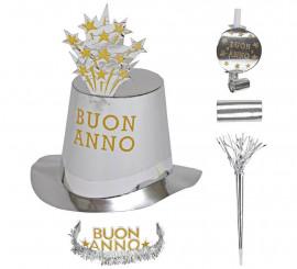 Kit Cotillón Buon Anno Plateado para 10 personas