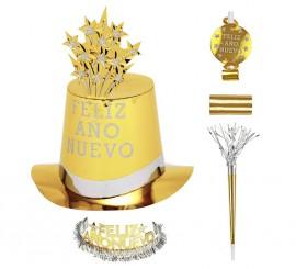 Kit Cotillón Feliz Año Nuevo Dorado para 10 personas