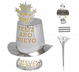 Kit Cotillón Feliz Año Nuevo Plateado para 10 personas