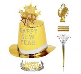 Kit Cotillón Happy New Year Dorado para 10 personas