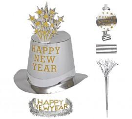 Kit Cotillón Happy New Year Plateado para 10 personas
