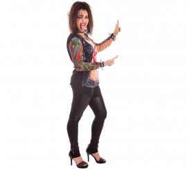 Kit de Rockera para mujer: Camiseta, Collar, Pulseras y Kit de Tatuaje