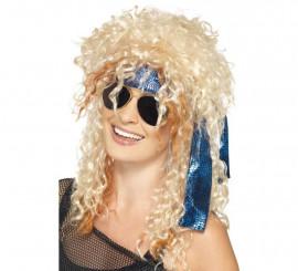 Kit de Rockero adulto: Peluca, gafas y bandana