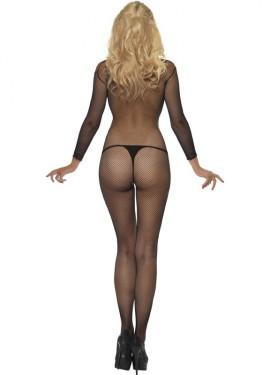 Mono o Body de red negro para mujer