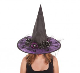 Sombrero de Bruja Flores Lila para mujer