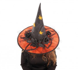 Sombrero de Bruja Flores Naranja para mujer