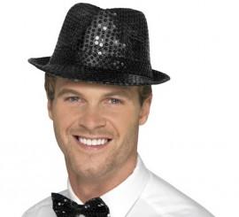 Sombrero de fieltro con lentejuelas Negro