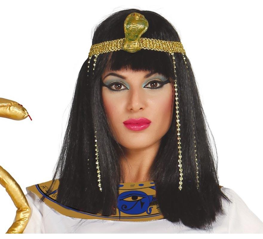 Peluca Cleopatra negra. Peluca morena c/ flequillo-B