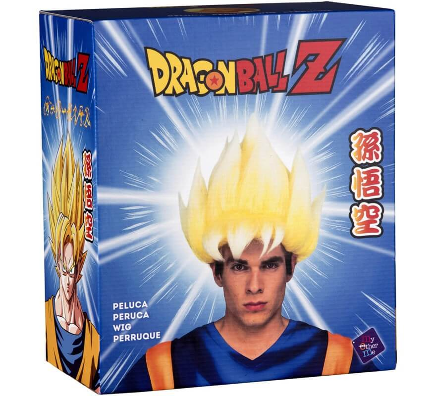 Peluca de Saiyan Son Goku de Dragón Ball en caja para hombre-B