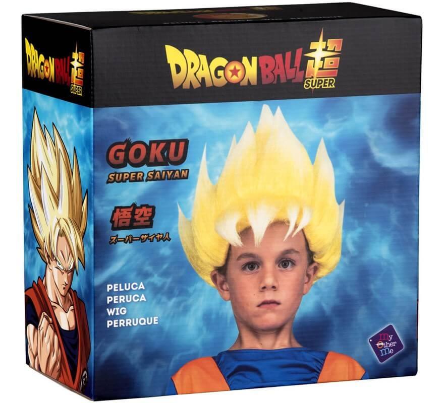 Peluca de Saiyan Son Goku de Dragón Ball en caja para niño-B
