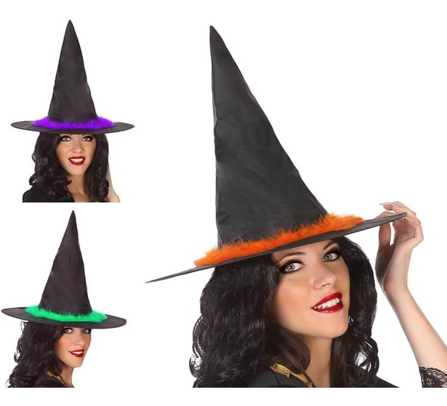 Sombrero de Bruja en 3 colores surtidos 34x40 cm
