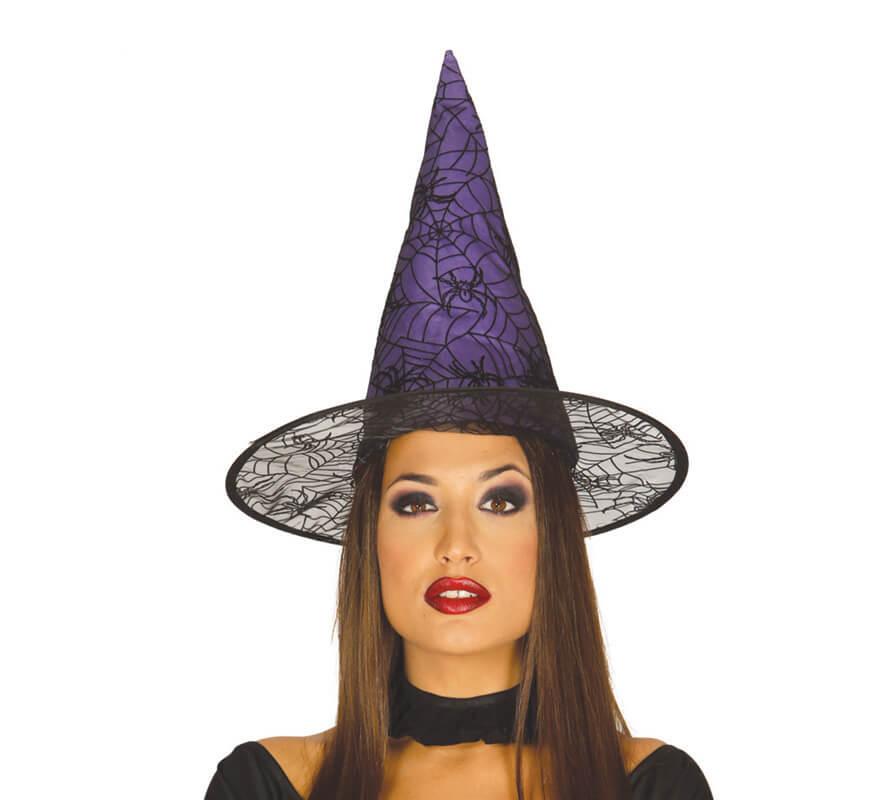 Sombrero de Bruja lila con telarañas y arañas 38c083a2d1e