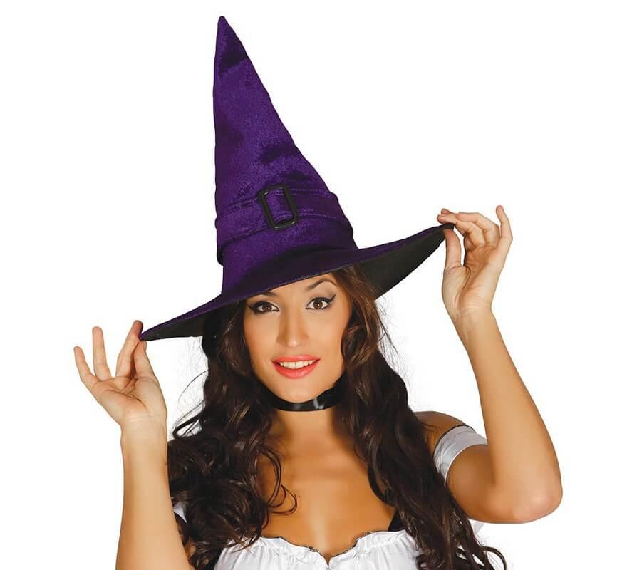 Sombrero de bruja lila de terciopelo 71a57567274