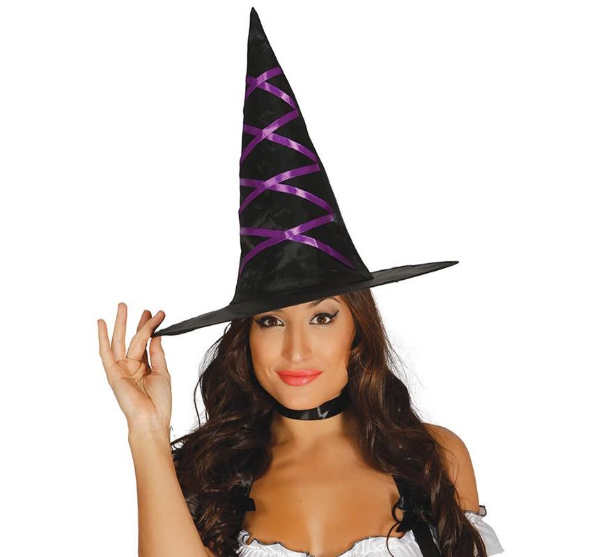 Sombrero de Bruja negro con Cintas lila 1565e65f23e