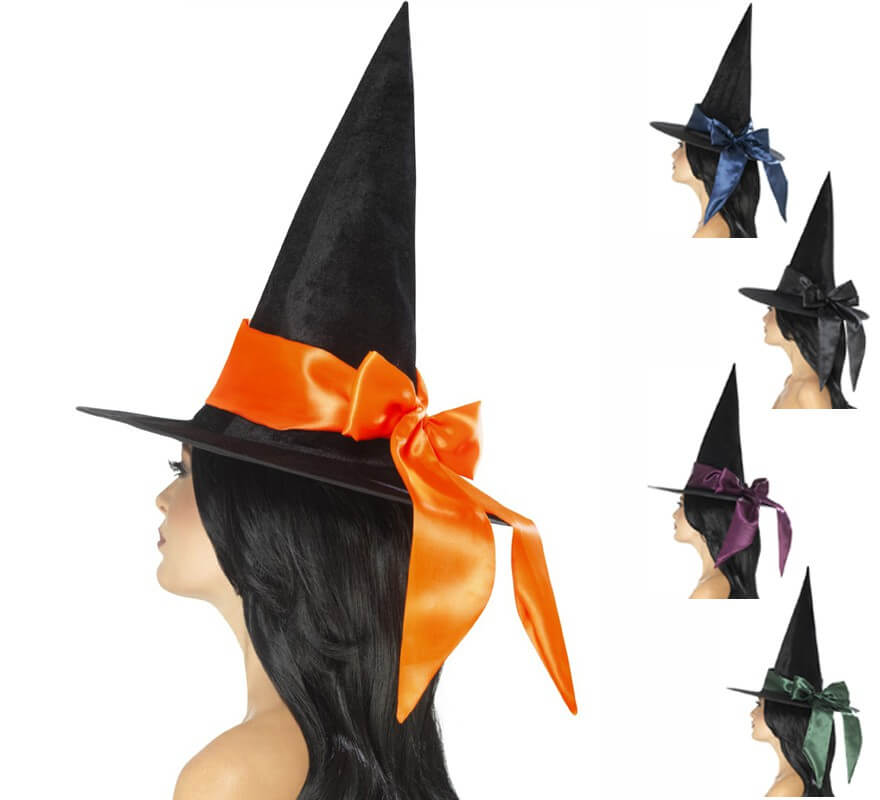 Sombrero de Bruja Negro con lazo en varios colores