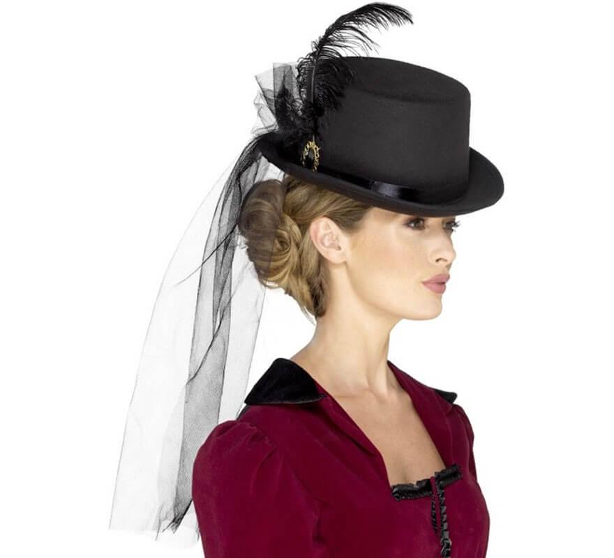 Sombrero de copa victoriano con Plumas 0e1b461d4d7e