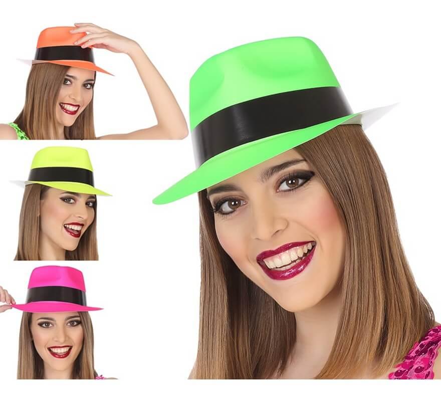 Sombrero de Gánster Fluorescente en 4 colores surtidos dc580e85ccc
