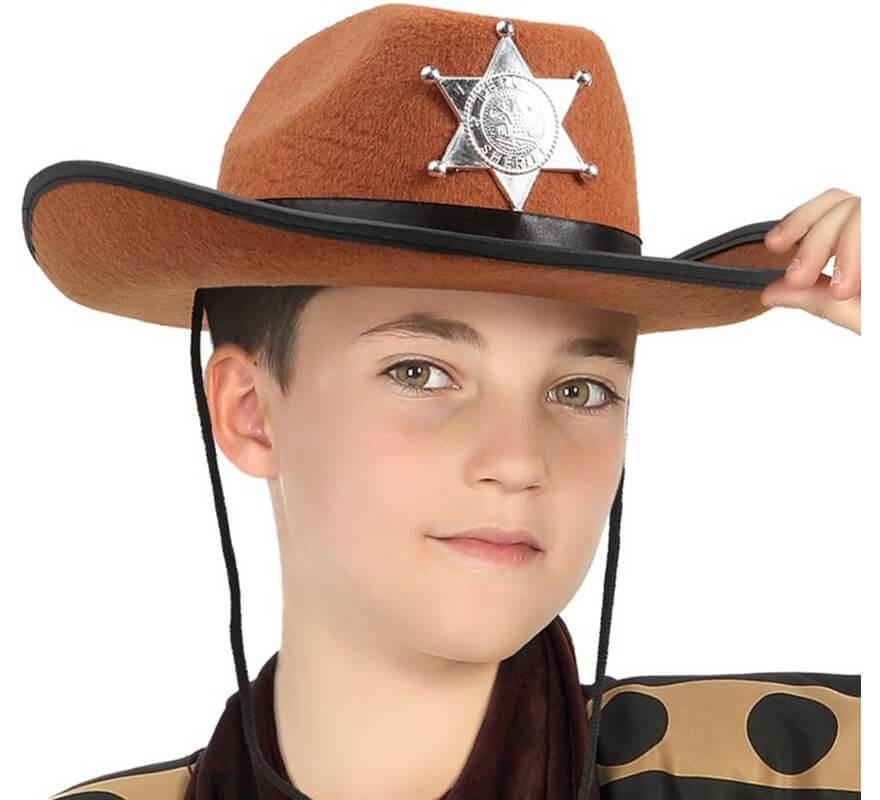 cdf52cfbb0e09 Sombrero de Sheriff marrón con estrella infantil