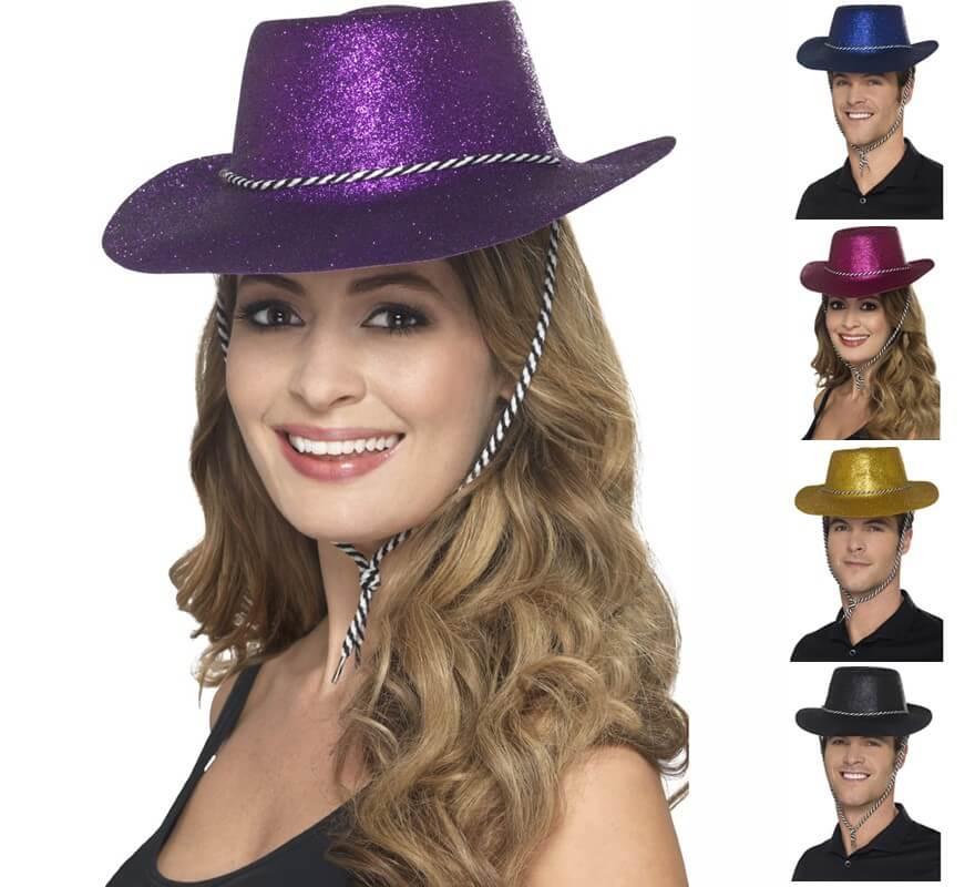 Cappello DA COWBOY ROSSO GLITTER-Costume Accessorio Donna Rodeo Wild West