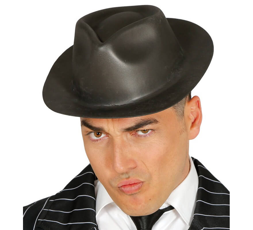 site professionnel ramassé profiter de la livraison gratuite Chapeau de Gangster en Latex Noir