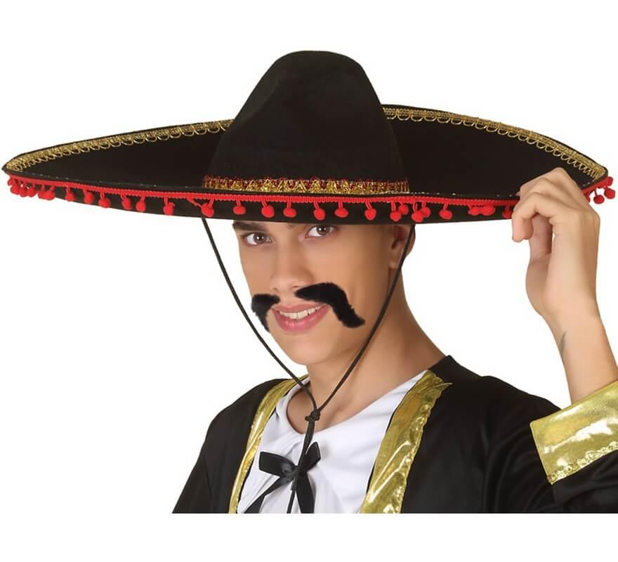 Sombrero Mexicano Negro y Rojo ae4727b2c97