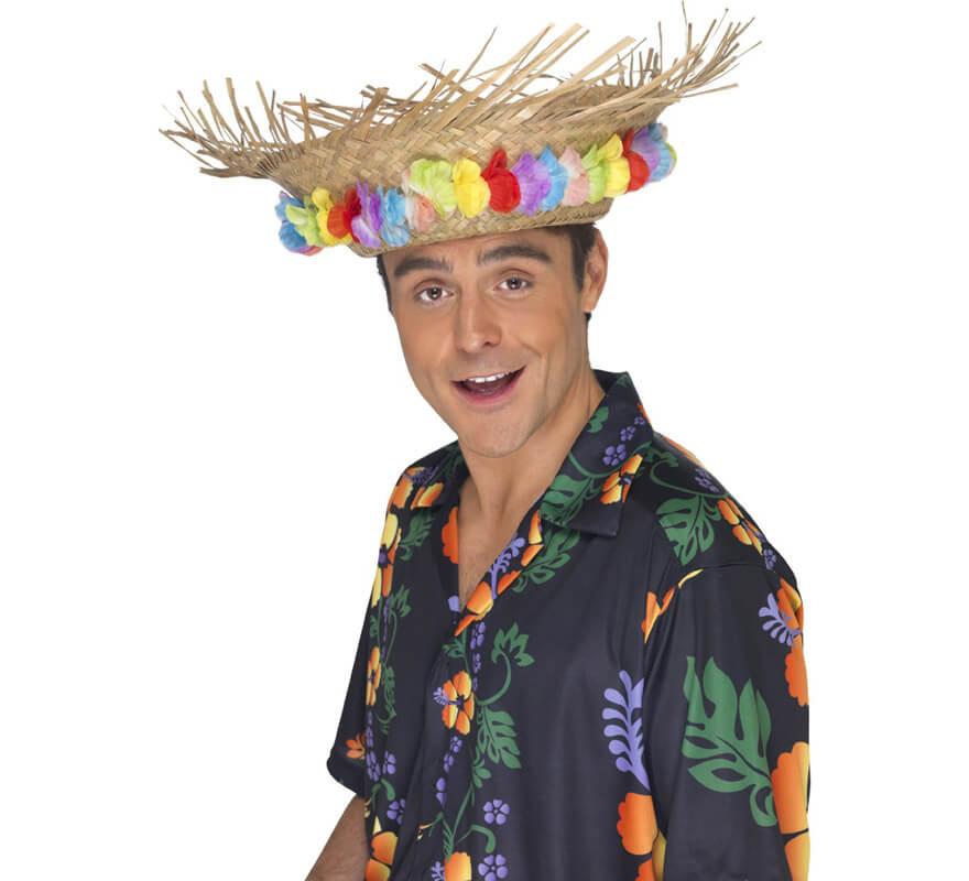 6149ab6a41c53 Sombrero playero de paja Hawaiano con flores