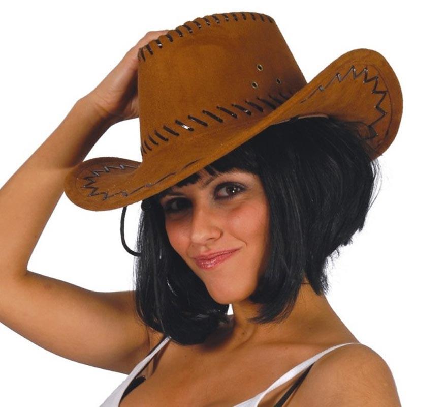 533539b82492c Sombrero Vaquero marrón simil a piel