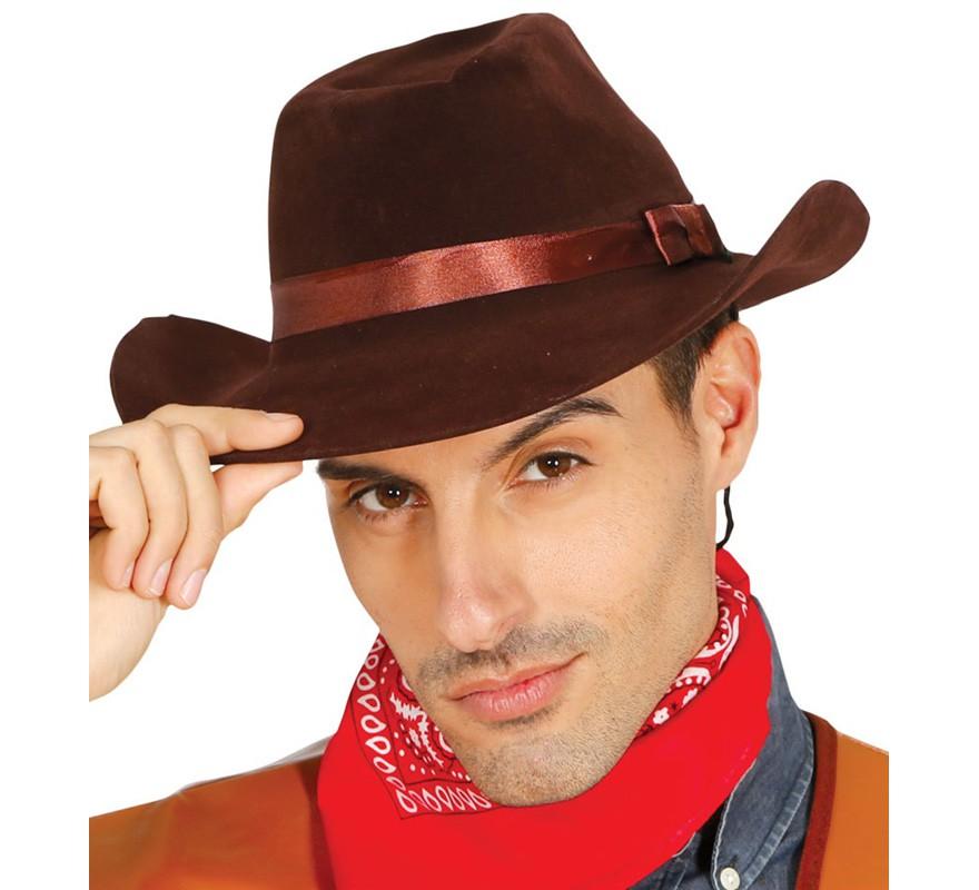 3609dae49127e Sombrero Vaquero o Pistolero flocado marrón